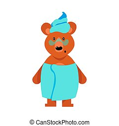 A humanized cute bear girl stands in blue towels. Vector illustration isolated on white background