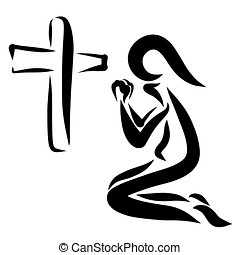 A humble prayer next to the cross, a Christian logo