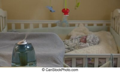 A Humidifier And Baby - A humidifier and baby newborn boy...