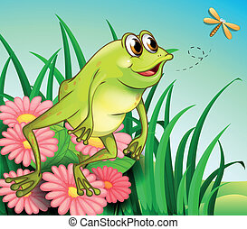 A hungry frog at the garden
