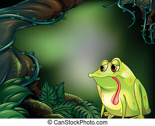 A hungry frog in the rainforest