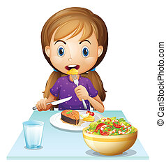 A hungry girl eating lunch - Illustration of a hungry girl...