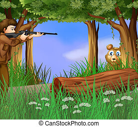 A hunter and a scared bear