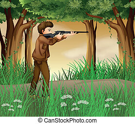A hunter inside the jungle - Illustration of a hunter inside...
