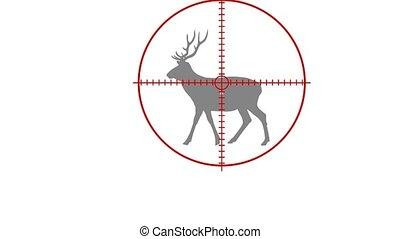 a hunter kills a deer with a rifle - animation