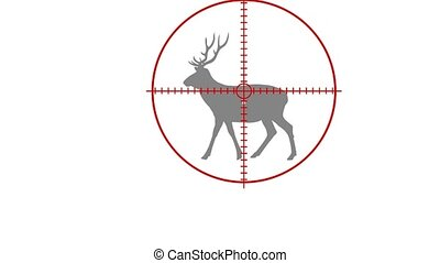 a hunter kills a deer with a rifle - animation