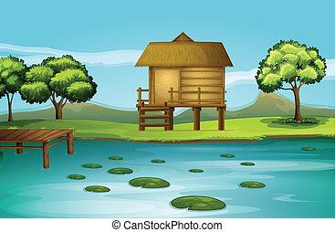 A hut at the riverbank - Illustration of a hut at the...