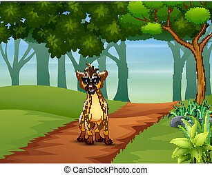 A hyena walking in the forest