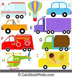 a-i, lettres, alphabet, véhicules, voiture, transport