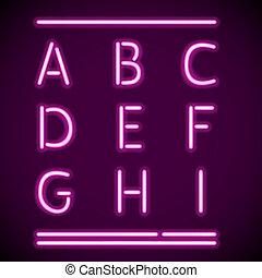 a-i, realistisch, neon, alfabet