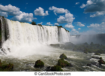 a, iguazu, waterfalls., argentína, brazília, dél-amerika