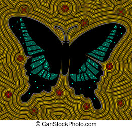 A illustration based on aboriginal style of dot painting depicti