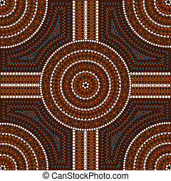 A illustration based on aboriginal style of dot painting depicting circle 2