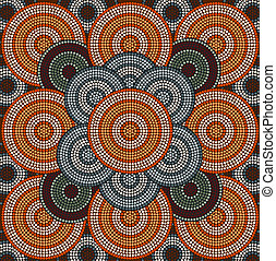 A illustration based on aboriginal style of dot painting depicting circle background 3