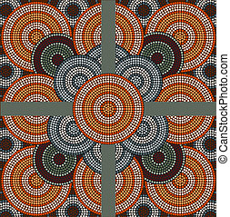 A illustration based on aboriginal style of dot painting depicting circle background 4
