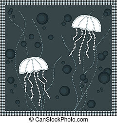 A illustration based on aboriginal style of dot painting depicting jellyfish