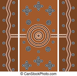 A illustration based on aboriginal style of dot painting depicting worldwide