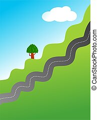 country road - A illustration of a bendy country road...