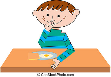 boy sitting on a table eating