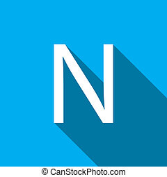 Illustration of a Letter with a Long Shadow - Letter N - A...
