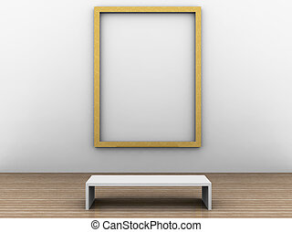 a 3d illustration of a room with frame