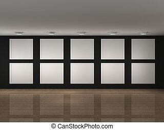 a illustration of a museum with frames