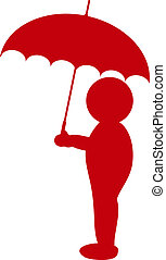 a illustration of a silhouette with umbrella