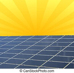 a illustration of a solar panel against sunny sky