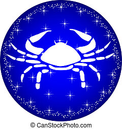 zodiac button cancer - a illustration of a zodiac button...