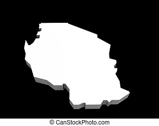 a 3d illustration of the tanzania map