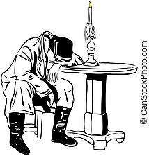 man sleeping on the table