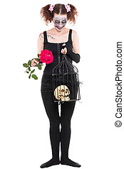 a insane woman with rose and skull