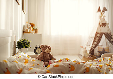 interior of bedroom for child , rooms for girls