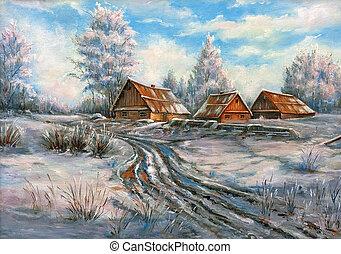 a, inverno, paisagem rural, desenhado, por, óleo, ligado, um, lona