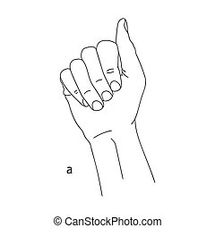 A is the first letter of the alphabet in sign language. Vector graphic isolated image of a hand with fingers clenched into a fist. Black and white drawing of a hand. The language of the deaf and dumb