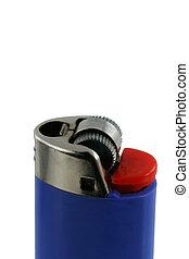 Isolated blue cigarette lighter