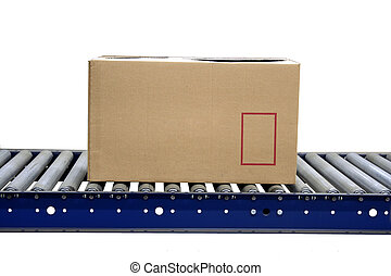 Isolated carton on conveyor rollers - A Isolated carton on...