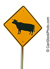 Isolated cattle crossing sign