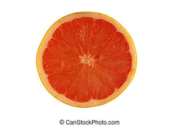A Isolated pink grapefruit half on white