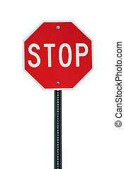 A Isolated stop sign on white background