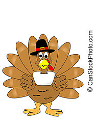 Isolated turkey with pilgrim hat - A Isolated turkey with...