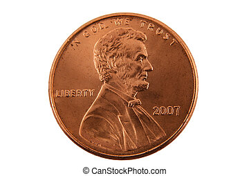 Isolated US penny - A Isolated US penny
