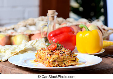 a, italiano, lasanha, ligado, um, prato