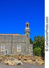 a, jámbor, templom, képben látható, tó, közül, gennesaret