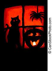 Jack-O-Lantern - A Jack-O-Lantern lit by a single candle.