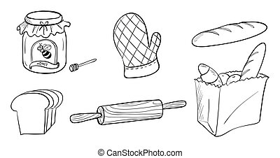 A jam, bread and baking materials - Illustration of a jam, ...