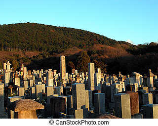 A Japanese graveyard near some mountains in Kyoto.