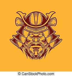 A Japanese samurai mask and helmet design vector illustration