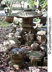 Japanese stone lantern at zen garden. Nature background