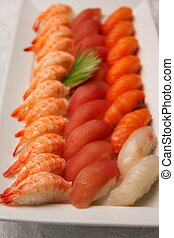 Japanese sushi shrimp tuna and salmon